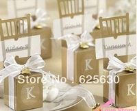 2013 50pcs/lot GLOD Chair wedding box , Favor box(with Ribbon , bells and PVC name card)(NO letter in the box)