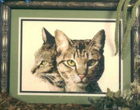 Free shipping DIY unfinished Cross Stitch kit Animal cat Natural beauty: brown tabby double cat C-506