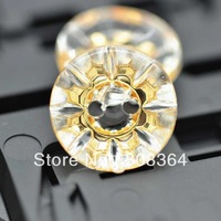 Free Shipping 100 Pcs Gold Plated Flower 2 Holes Acrylic Sewing Buttons Scrapbooking 13mm(W02544 X 1)