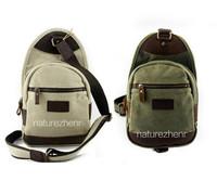 BFZ12  Vintage small Washed Canvas Leather khaki army green Shoulder bum waist belt messenger school work bag women girl boy men
