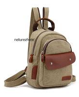BFZ13  Vintage small Canvas Leather khaki Shoulder shoulders messenger school work bag backpack rucksack  women girl boy men