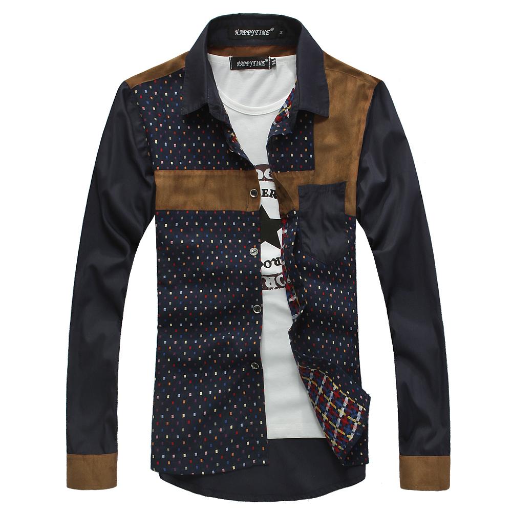 Shirt design new 2014 - New 2013 Autumn Long Sleeve Slim Casual Shirt Men S Patchwork Shirt Trend Comfortable All Match