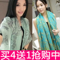 Autumn and winter all-match cape scarf female fluid air conditioning silk scarf ultra long beach towel dual use scarf