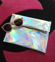 Free Shipping space silver colorful laser day clutch envelope bag handbag messenger bag