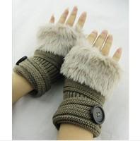 Fashion Winter Arm Warmer Fingerless Gloves women Knitted Fur Trim Gloves Mitten imitation rabbit fur SF-22