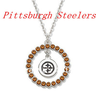 Free Shipping  Pittsburgh Steelers  sport rhodium plated football and helmet with crystal pendant necklaces