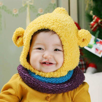 Pipkin cattle 2013 winter baby bear cap child cap baby hat ear protector cap muffler scarf twinset