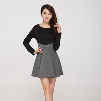 2013 Autumn Winter New Fashion Patchwork Round Neck Long Sleeve Cotton Dresses For Women Ladies Mini Dress Black Grey