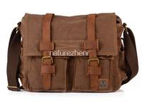 BAZ23 Vintage Washed Canvas Leather Shoulder bag messenger mailbag school work book laptop bag women girl boy men