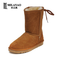 2013 women's waterproof shoes knee-high genuine leather strap cow muscle outsole snow boots