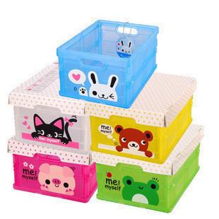 Animal patterns graphic retractable storage box with lid folding sundries storage box storage box plastic storage box(China (Mainland))