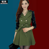 Hot selling fashion autumn slim trench long-sleeve female medium-long overcoat fashion double breasted outerwear  new