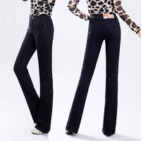 Autumn and winter thickening jeans female black slim bell bottom trousers high waist plus size lengthen edition