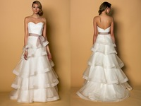 Free shipping  2014 Elegance A-line layers Organza with satin edge bow on waist Sweetheart  Custom made Wedding dress gown W1987