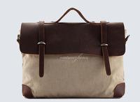 BFNZ4 Vintage Washed Canvas Leather Shoulder bag messenger mailbag school work book laptop notebook bag women girl boy men