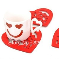 Free shipping creative fashion heart shape cup mat,fashion hearted and rose  placemat,dinner mat,wholesale