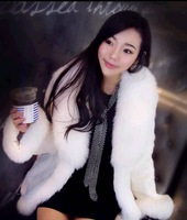 ELEON 2013 new winter luxury fox fur collar wool coat jacket fur coat  8527 #