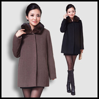 2013 new fashion Cashmere overcoat female mink hair nick coat women's rex rabbit hair outerwear thermal quinquagenarian women's