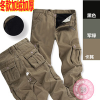 Hot-selling 2013 winter men's trousers multi-pocket pants overalls warm fleece winter thick plus velvet trousers