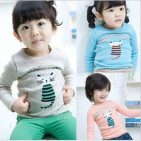 2013 autumn spring and autumn and the cat boys clothing girls clothing long-sleeve T-shirt tx-1185 basic shirt
