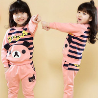 2013 autumn and winter bear girls clothing child fleece casual sports set tz-1000
