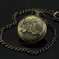 Joyce SHOP - Fashion Casual necklace Pocket watch Round Vintage Art quartz watch Bronze S196 watch wholesale