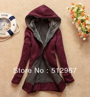 2014 women's hooded thickening fleece fashion sweatshirt plus velvet long-sleeve cardigan female sweatshirt Ladies outwear red