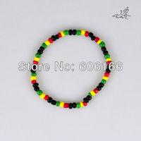40pc/lot Glass Seed Beads Bracelet Rasta Reggae Punk Hiphop  Elastic Stretch Bracelets Fashion Jewelry Free Shipping