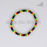 40pc/lot Glass Seed Beads Bracelet Rasta Reggae Punk Hiphop  Elastic Stretch Bracelets Fashion Jewelry Free Shipping