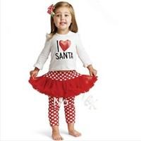 "2013 new year girls ""I love christmas "" shirt+leggings dress set cartoon kids clothing suit KT long sleeve dress set,girls set"