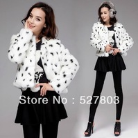 New Autumn Lady Lovely Cute Faux Fur Black Leopard Full Sleeve White Short Jacket Coat Outerwear S M L