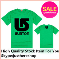 Free Shipping New Arrival Burton Brand Men new fashion brand hiphop desinger summer green color T Shirt