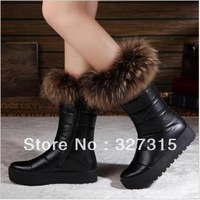 2013 new autumn and winter fashion thick warm natural fox fur snow boots women boots flat bottomed leather wholesale and retail