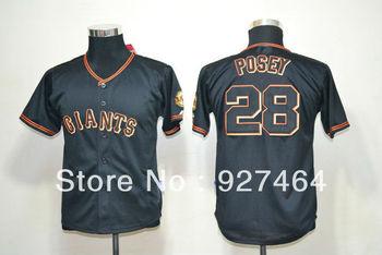 new 2013 sf San francisco Giants 28 Buster Posey black youth/ kids/ boy baseball Jersey, Embroidery Logo, Original Tags