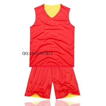 Free shipping Reversible basketball clothes set male small mesh double faced basketball clothing vest jersey training suit red
