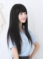 Fluffy long straight hair qi bangs repair elegant black wig wigs