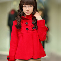 2014 autumn women's slim short design wool outerwear cloak stand collar overcoat female trench