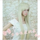 Beige long cos wig natural long straight hair oblique bangs(China (Mainland))