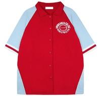 B-1571 HARAJUKU vintage red and blue color block loose baseball decoration half sleeve outerwear
