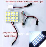 2 sets 2013 New T10 Festoon 2 Adapters 20 SMD 5050 white Light Ultra Bright  12V LED reading Panel Car interior Dome light