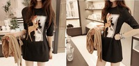 2014 new fashion hot sale runway korea Slim print half sleeve autumn one-piece dress women black S, M