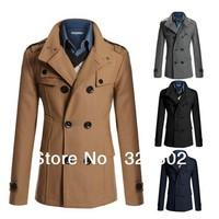 New 2014 Winter Men's fashion trench coat men's winter jacket outdoor jacket long trench coats for men
