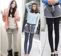 2013 100% thickening cotton faux two piece set culottes women's velvet legging fleece warm winter legging for women