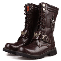 Tall  men's rivet Martin boots male  trend of Korean men's boots combat boots