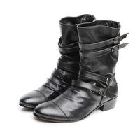 High pointed toe leather male boots leather tidal current male boots fashion zipper martin boots