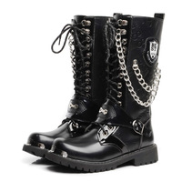 Free shipping Korean version of the trend of men's high boots punk boots show large yards high shoes