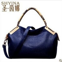 Free shipping, new high quality fashion retro Crocodile Striped bags bolsas, women leather handbags.