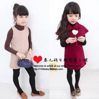 Hot sale 2 colors 5pcs/lot free shipping 2013 children autumn winter pearl cloak twinset girls vest dress+cloak  suit