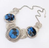 Big gem stone necklace women vintage collar chokers necklace blue beige color (min order $15)