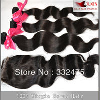 5A Peruvian virgin hair body wave 1 pcs Lace top closure with 3pcs Hair Bundle extension 4pcs/lot DHL free shipping